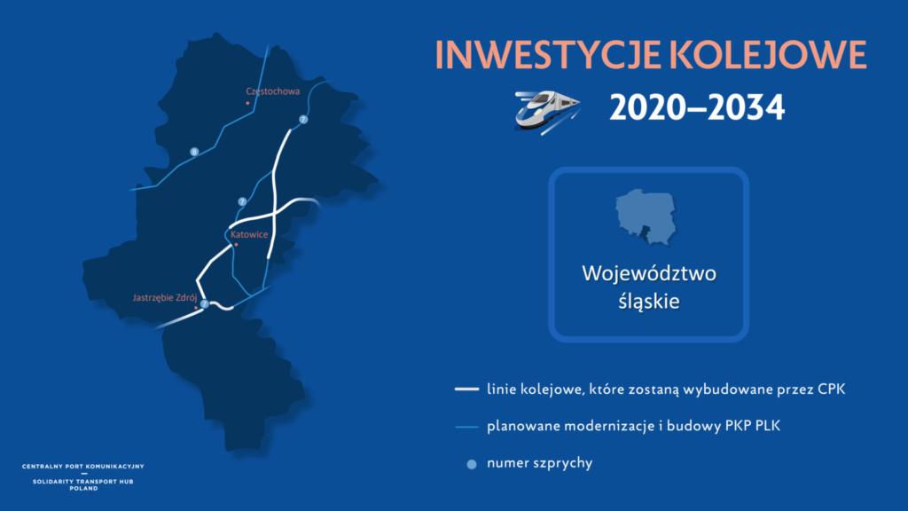 Grafika przedstawiająca mapę z inwestycjami Kolejowymi Centralnego Portu Komunikacyjnego w latach 2020-2034.