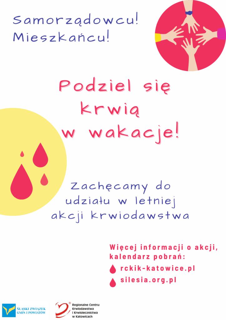 """Plakat akcji """"Podziel się krwią w wakacje!"""""""