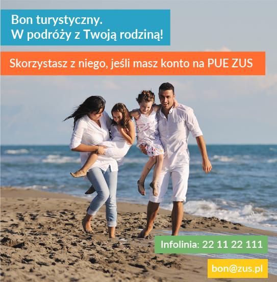 Grafika promocyjna dotycząca bonu turystycznego.