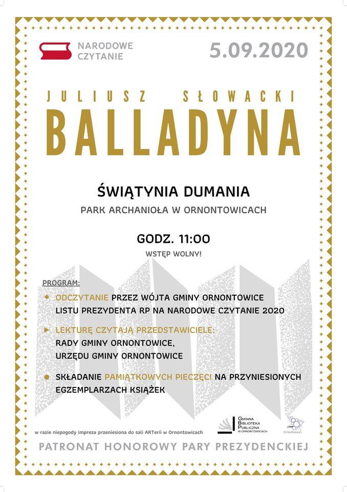 Plakat Narodowe Czytanie - Juliusz Słowacki Balladyna