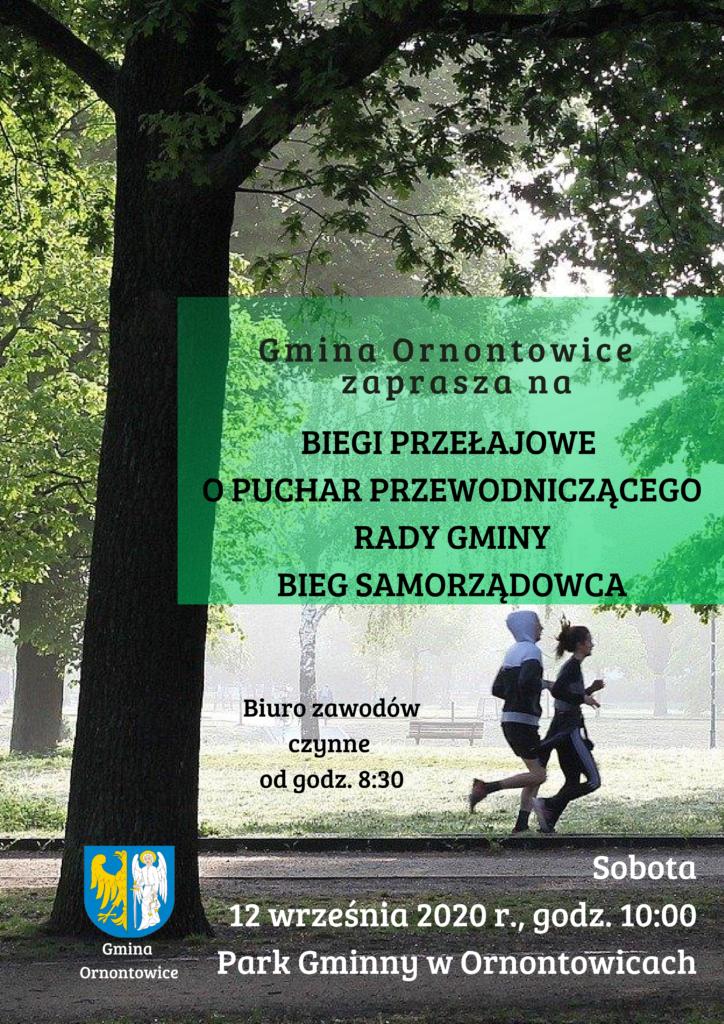 Plakat - Biegi Przełajowe o Puchar Przewodniczącego Rady Gminy oraz Bieg Samorządowca