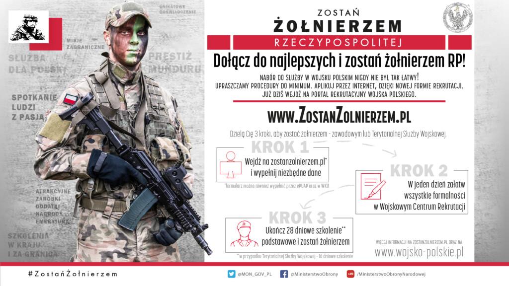 Grafika promocyjna kampanii Zostań Żołnierzem.