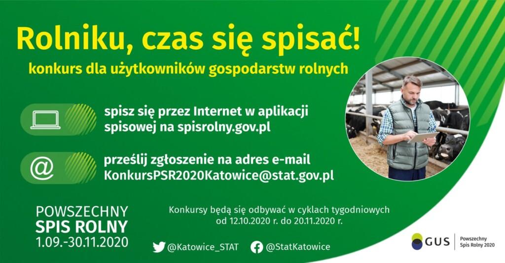 Grafika promocyjna Powszechnego Spisu Rolnego - konkurs dla rolników Rolniku czas się spisać.
