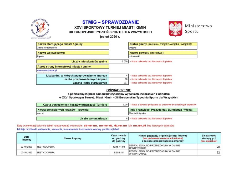 """Sprawozdanie z tegorocznej akcji """"Sportowy Turniej Miast i Gmin 2020""""."""