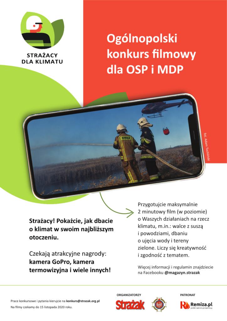 """Plakat dedykowany konkursowi filmowemu """"Strażacy dla klimatu"""""""