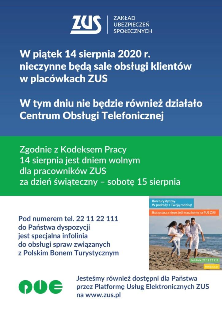 Plakat informujący o nieczynnych placówkach Zakładu Ubezpieczeń Społecznych 14 sierpnia 2020 roku.