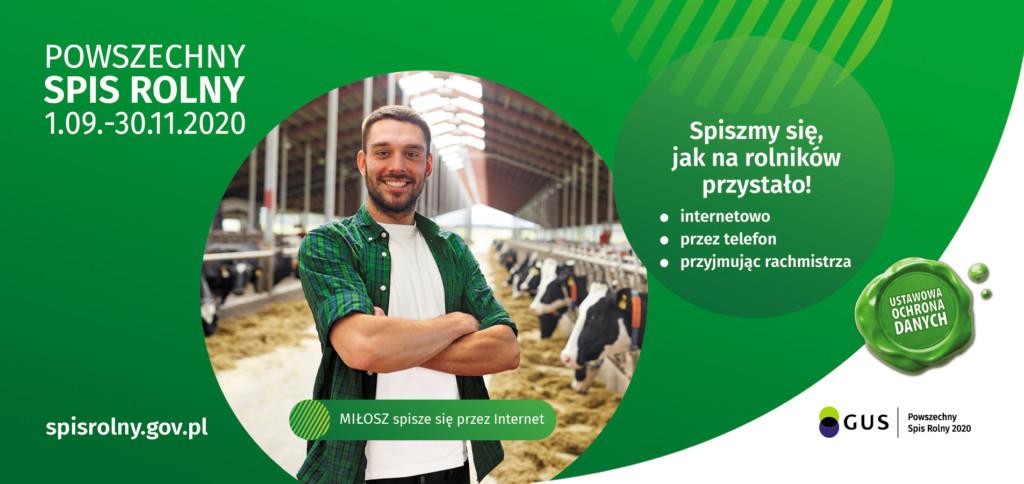 Grafika promocyjna dotycząca Powszechnego Spisu Rolnego 2020