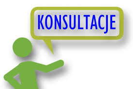 Grafika z napisem: konsultacje.