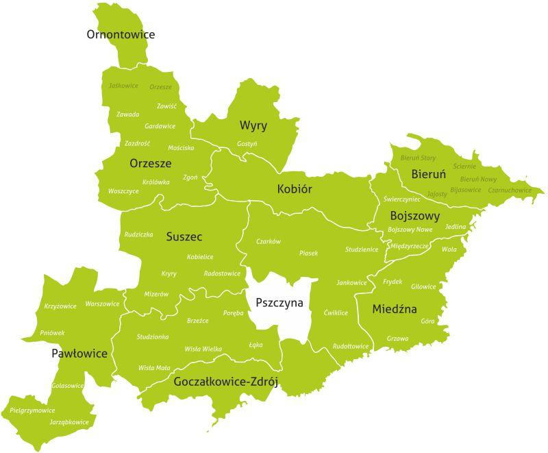 Mapa działania obszaru LGD.