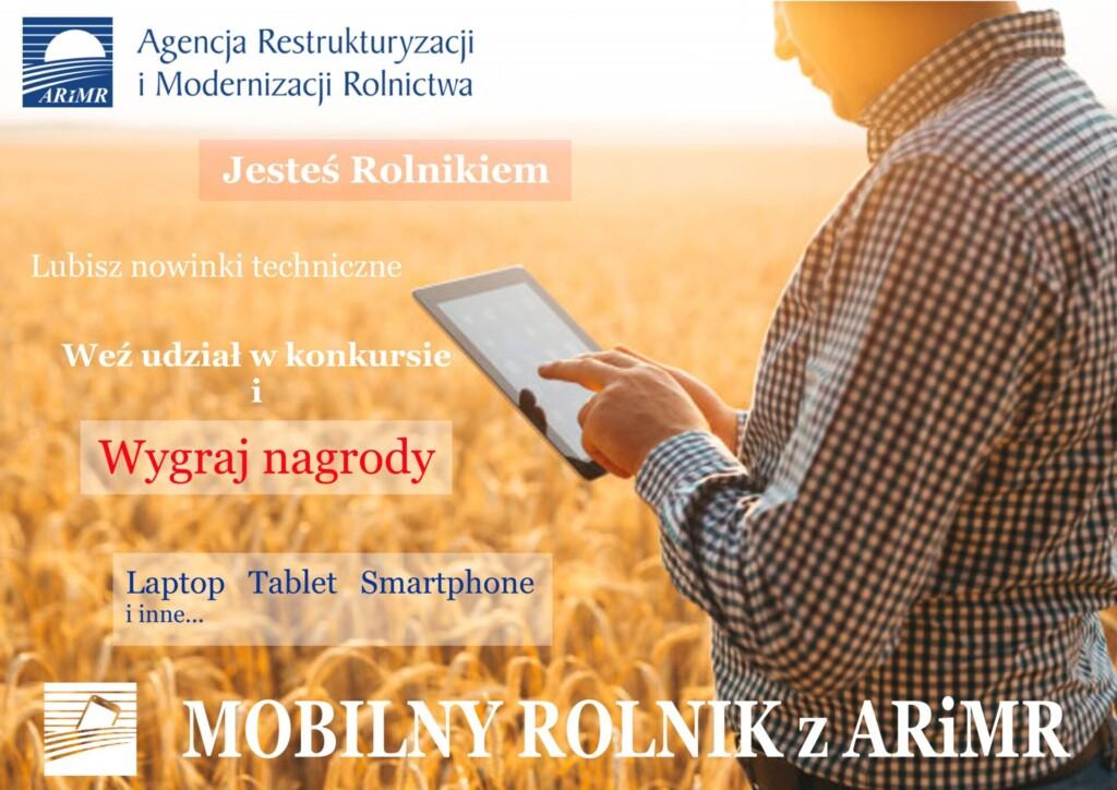 """Grafika promocyjna """"Mobilny rolnik z ARiMR""""."""