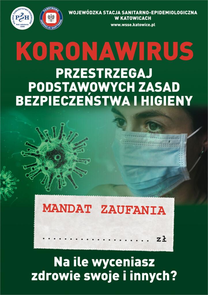 Ulotka - koronawirus. Przestrzegaj podstawowych zasad bezpieczeństwa i higieny.