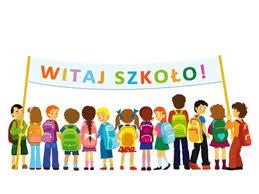 """Grafika - dzieci trzymające napis """"Witaj szkoło!"""""""