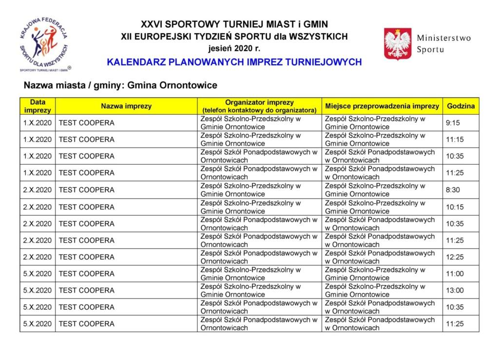 Kalendarz planowanych imprez turniejowych część 1.