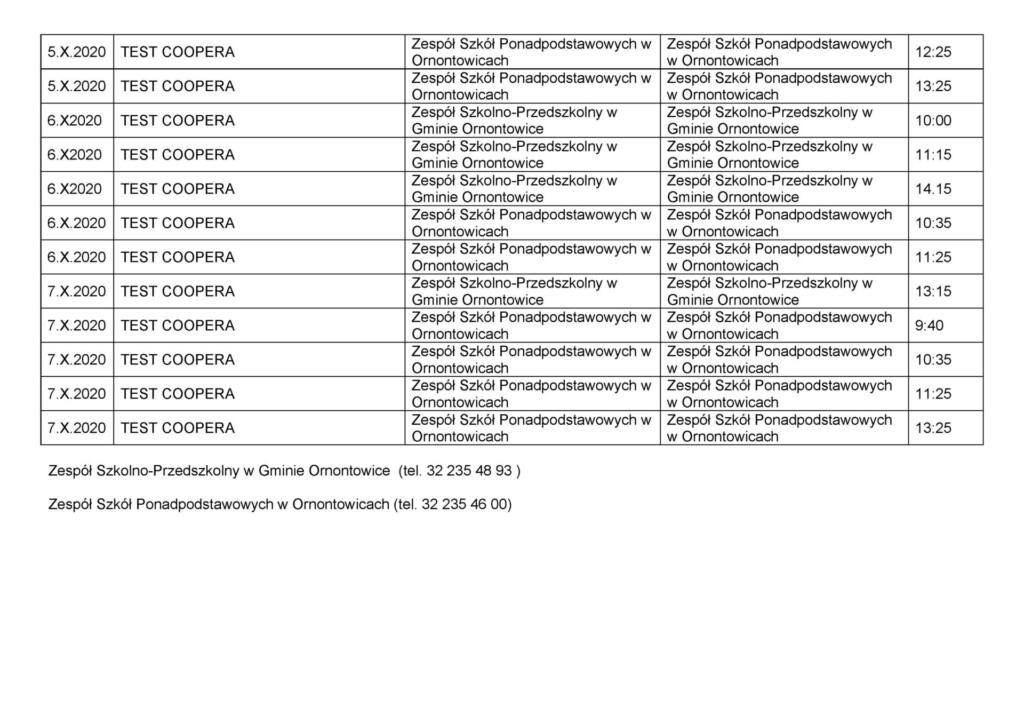 Kalendarz planowanych imprez turniejowych część 2.