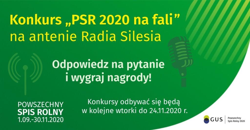 Grafika promocyjna: Konkurs Powszechny Spis Rolny 2020 na antenie Radia Silesia.