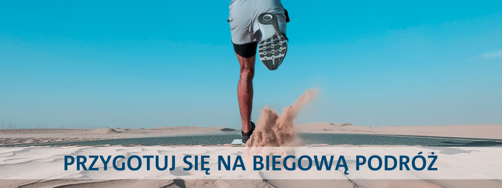"""Zdjęcie biegnącego mężczyzny z napisem """"Przygotuj się na biegową podróż"""""""