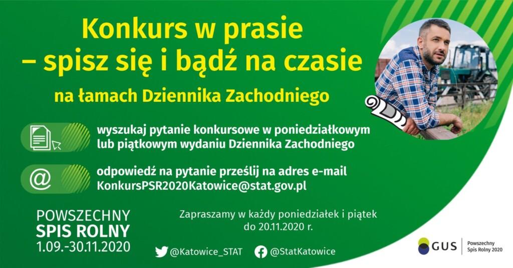 Grafika promocyjna Powszechnego Spisu Rolnego - konkurs na łamach Dziennika Zachodniego