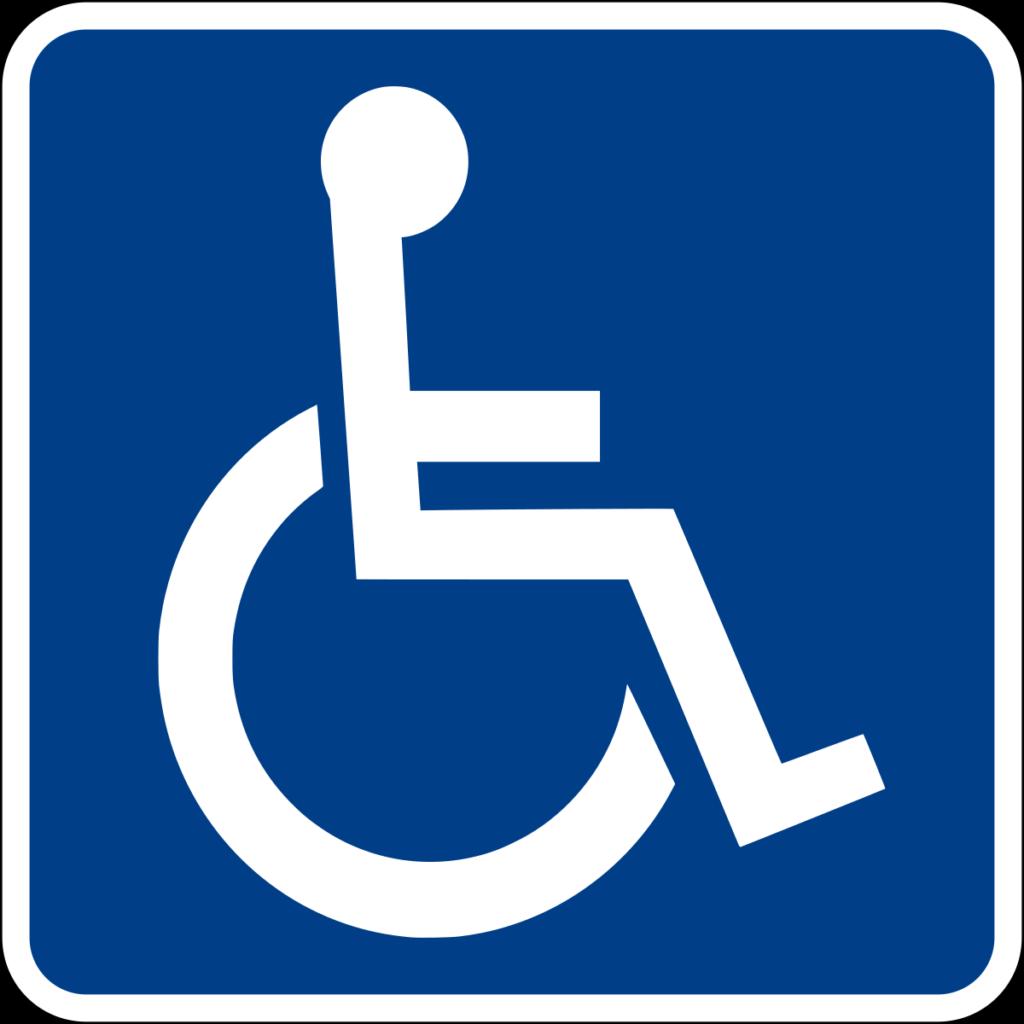 Grafika przedstawiająca znak z wózkiem inwalidzkim.