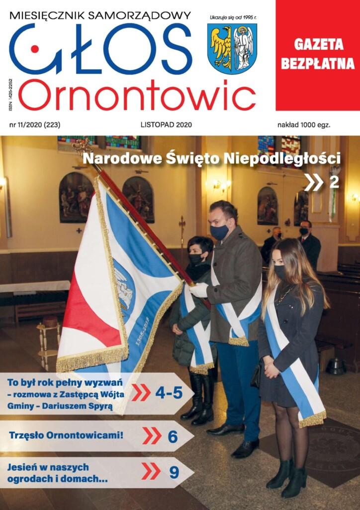 """Okładka listopadowego """"Głosu Ornontowic"""" numer 11/2020 (223)."""