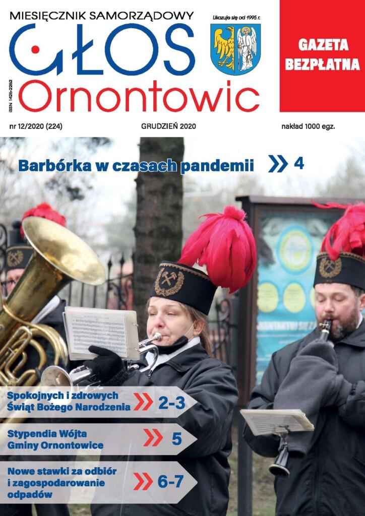 """Okładka grudniowego wydania """"Głosu Ornontowic"""" nr 12/2020 (224)."""