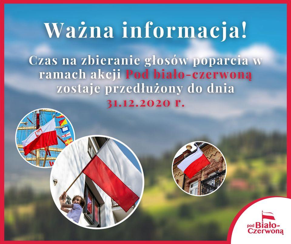 """Grafika promocyjna projektu """"Pod biało-czerwoną""""."""