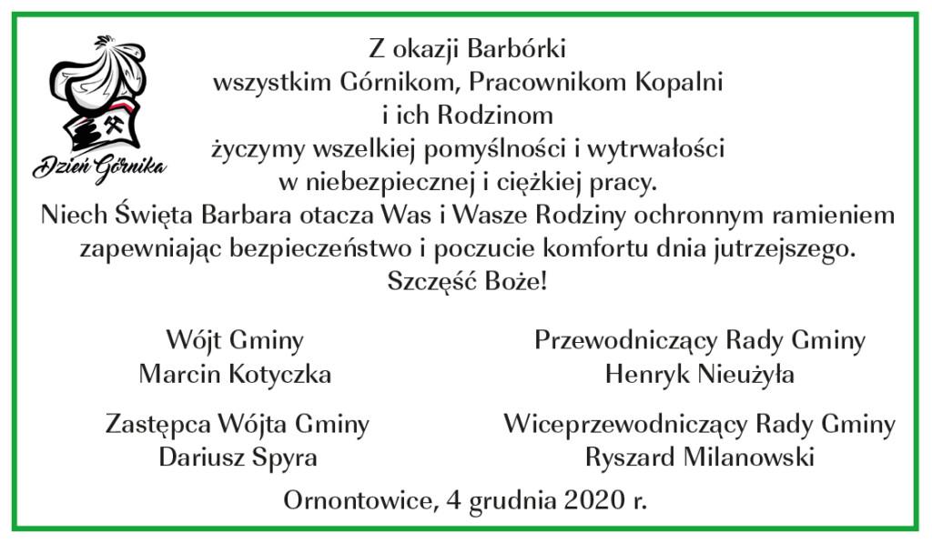 Grafika z życzeniami z okazji Barbórki.