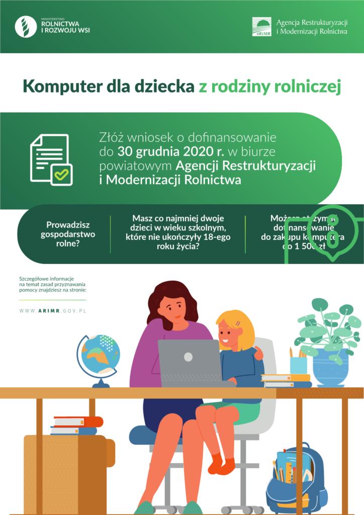 Dofinansowanie zakupu komputera dla dziecka z rodziny rolniczej - PLAKAT