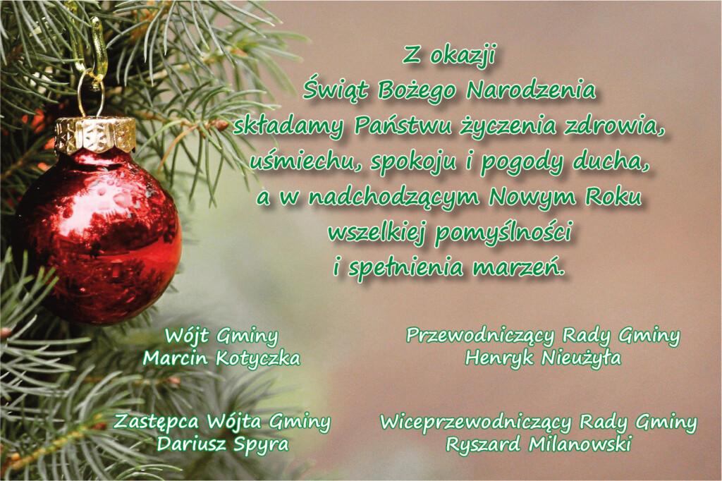 Grafika z życzeniami z okazji Świąt Bożego Narodzenia.