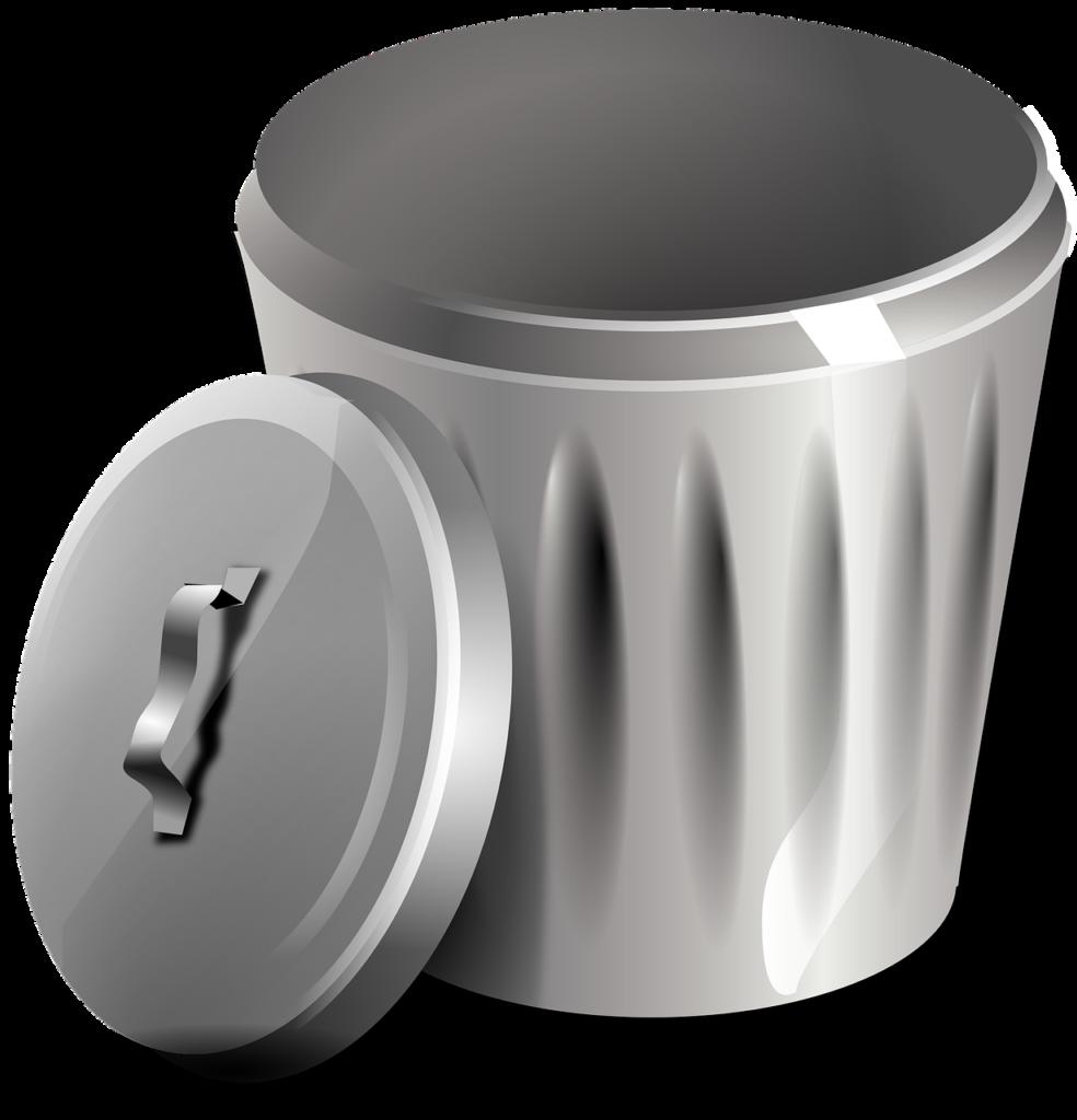 Grafika przedstawiająca kubeł na odpady.