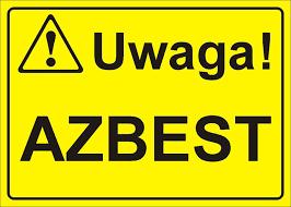 Grafika z napisem: Uwaga! Azbest.
