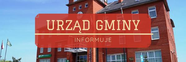 """Grafika - Zdjęcie budynku Urzędu Gminy z napisem: """"Urząd Gminy informuje"""""""