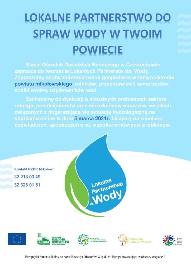 Grafika promocyjna dotycząca Lokalnego Partnerstwa do spraw Wody.
