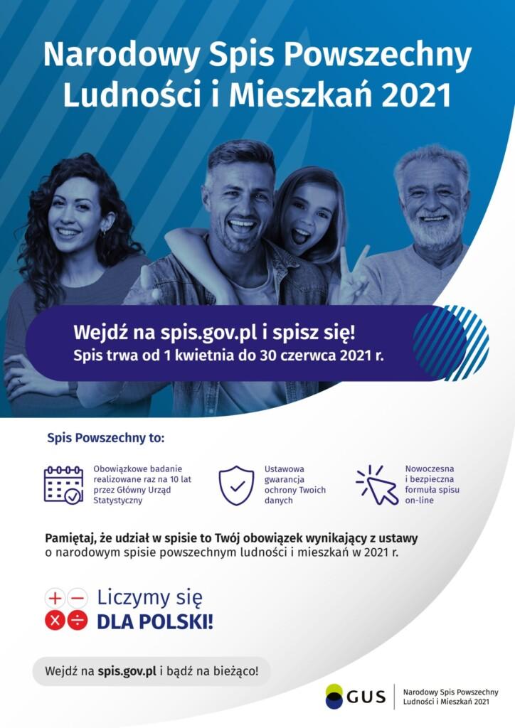 Plakat informujący o Narodowym Spisie Powszechnym Ludności i Mieszkań 2021