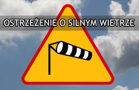 Grafika z napisem: ostrzeżenie o silnym wietrze.