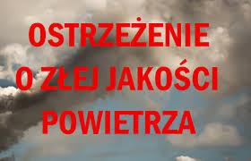 Grafika z napisem: ostrzeżenie o złej jakości powietrza.