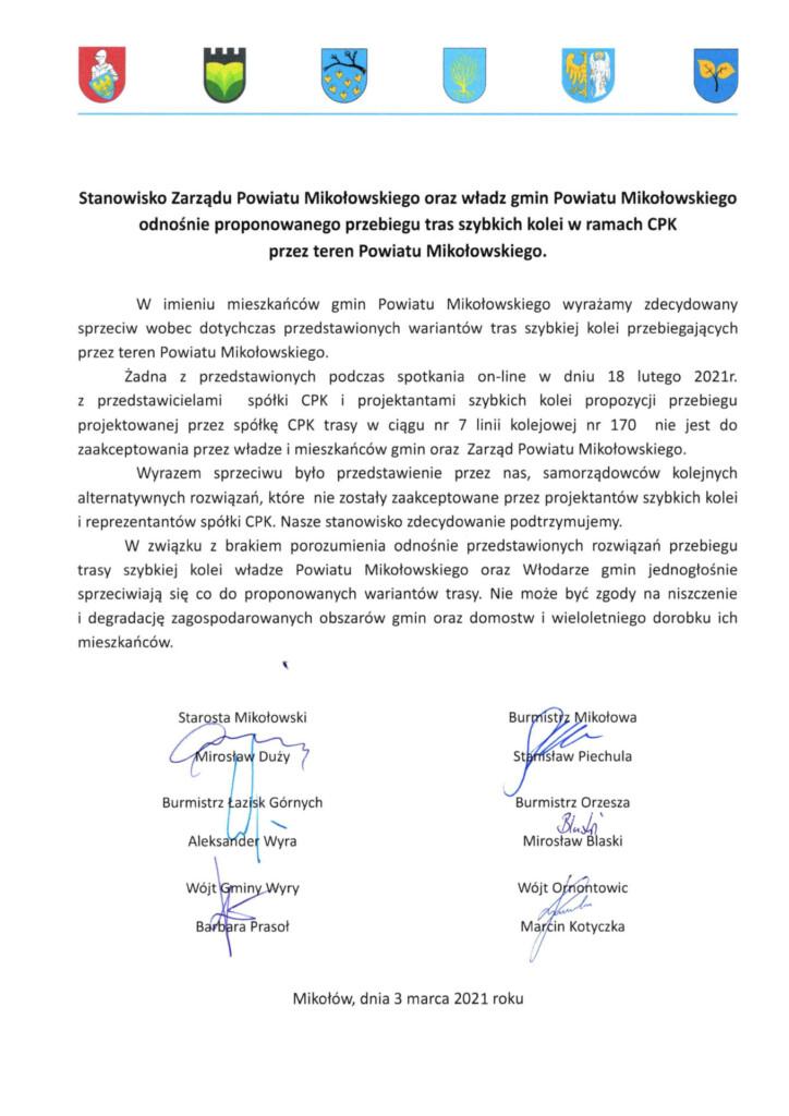 Skan stanowiska Zarządu Powiatu Mikołowskiego oraz władz gmin Powiatu Mikołowskiego odnośnie proponowanego przebiegu tras szybkich kolei w ramach CPK przez teren Powiatu Mikołowskiego.