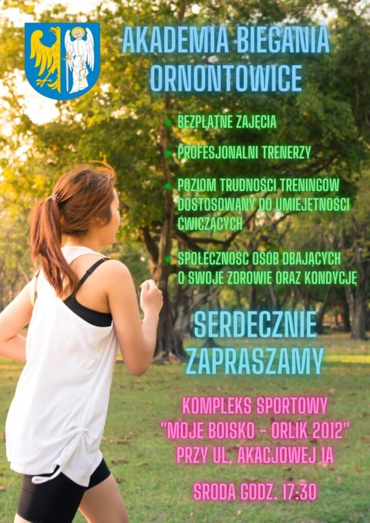 Plakat promujący Akademię Biegania Ornontowice.