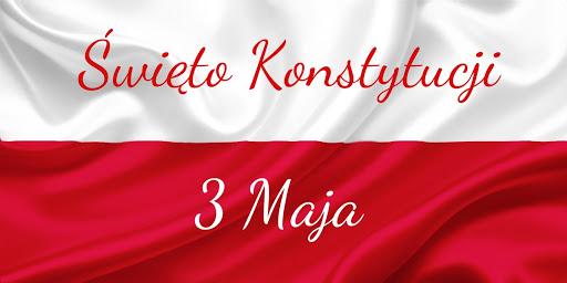 Grafika z flagą Polski i napisem: Święto Konstytucji 3 Maja.