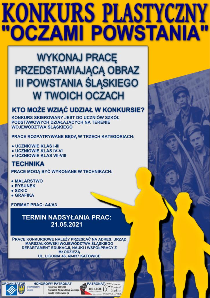 """Plakat promocyjny Konkursu Plastycznego """"Oczami Powstania""""."""