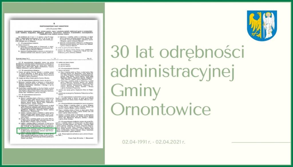 Grafika dedykowania jubileuszowi 30-lecia odrodzenia Gminy Ornontowice