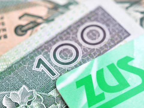 Grafika - banknot 100 zł, napis ZUS