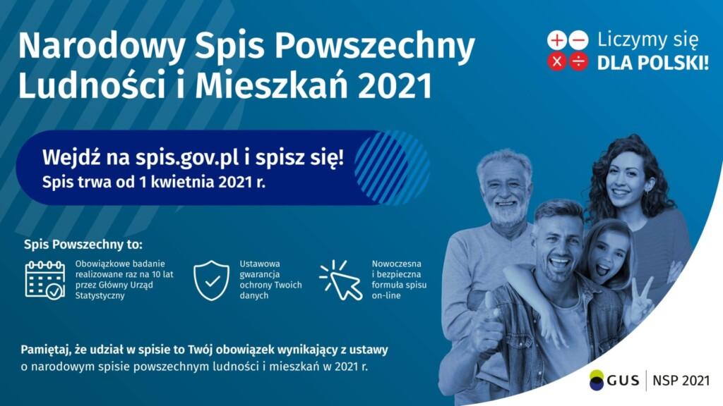 Grafika promocyjna - Narodowy Spis Powszechny Ludności i Mieszkań 2021.