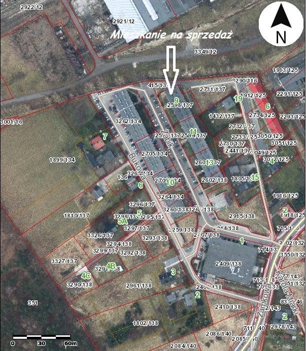 Mapa z zaznaczoną lokalizacją mieszkanie na sprzedaż.
