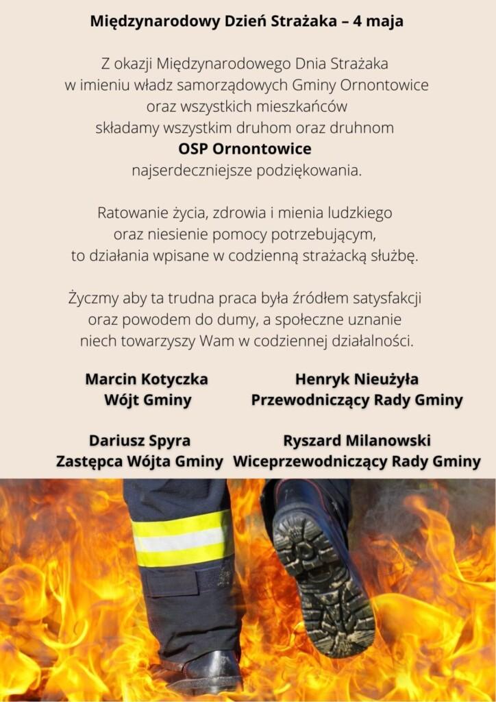 Grafika z życzeniami z okazji Międzynarodowego Dnia Strażaka.