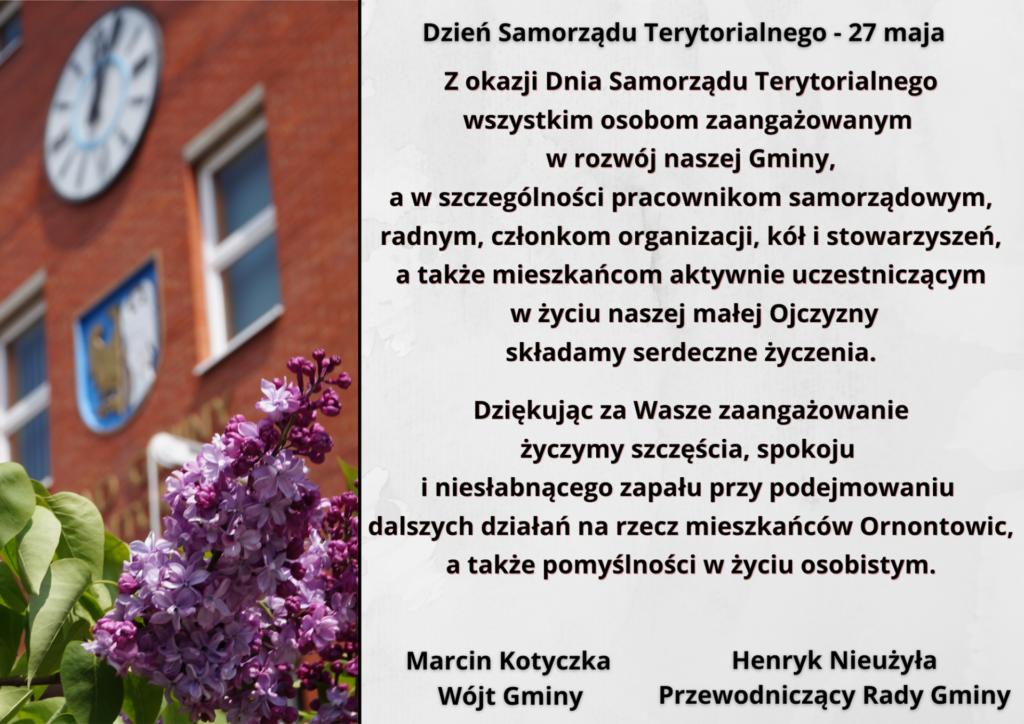 Grafika z życzeniami z okazji Dnia Samorządu Terytorialnego.