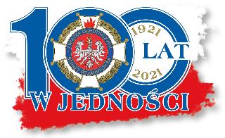 """Logo 100-lecia zjednoczonego ruchu strażackiego """"W JEDNOŚCI SIŁA""""."""