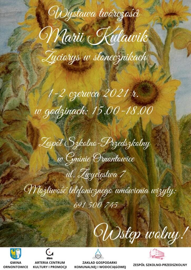 Grafika promocyjna z zaproszeniem na wystawę malarską.