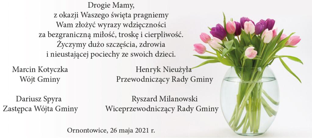 Grafika promocyjna z życzeniami z okazji Dnia Matki.