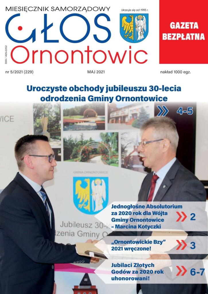 """Okładka majowego wydania """"Głosu Ornontowic"""" nr 5/2021 (229)."""