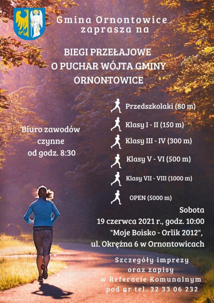 Plakat promocyjny - Biegi Przełajowe o Puchar Wójta Gminy Ornontowice.